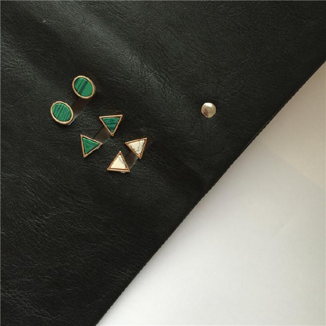 图纸极简风大理石祖母绿耳钉几何欧美三角绿圆圈吧台v图纸图片
