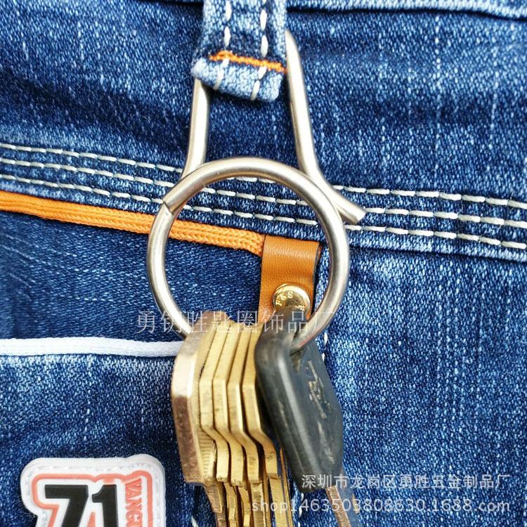 一體快拆式鑰匙扣 創意鈦合金匙圈掛件 原創設計男女鑰匙環示例圖3