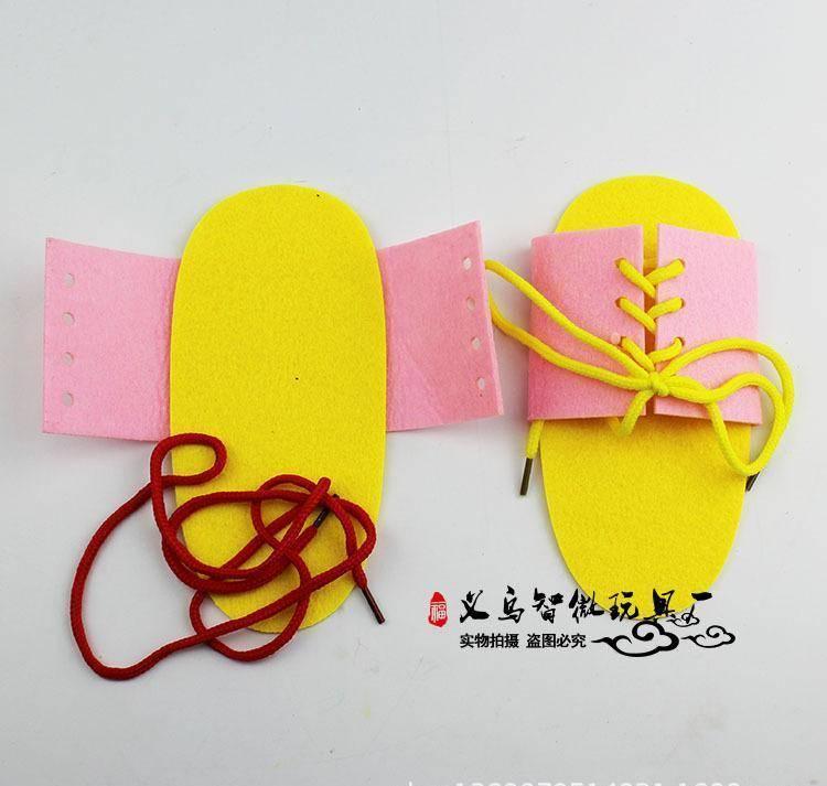 不织布拖鞋系园区穿鞋带早教鞋带硬盘手动幼儿笔记本电脑亲子教具分区步奏图片