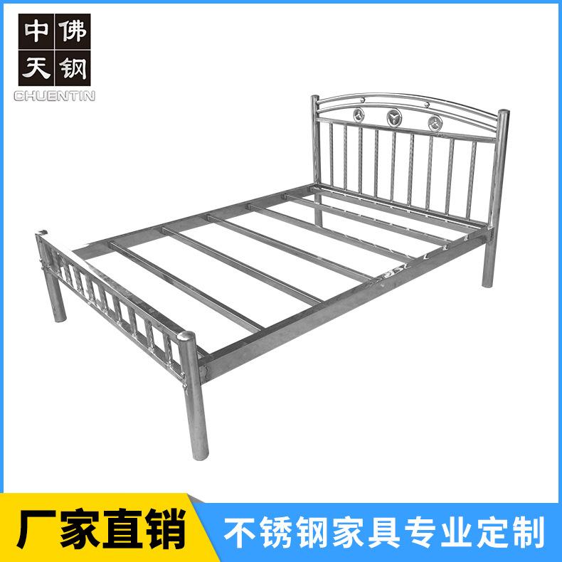 202不锈钢制公寓出租屋床 不锈钢床1.2 1.5 1.8米304不锈钢双人床厂家