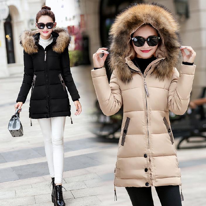 棉衣女中长款新款修身显瘦欧美连帽毛领批发气质外套潮流时尚棉服图片
