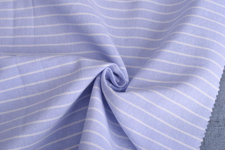 廠家直銷加厚牛津紡條子色織襯衫滌棉布料條紋布連衣裙職業裝面料示例圖13