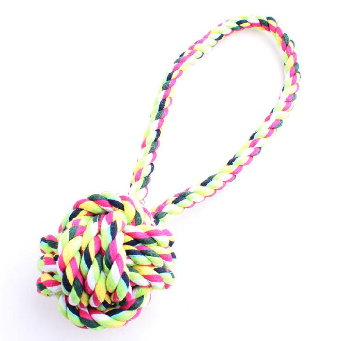 宠物棉绳手拉式宠物单吊球 宠物用品 狗狗棉绳玩具 现货批发 热销图片