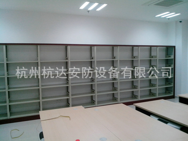 厂家定做 学校双面书架铁制书柜,柜式期刊架复柱双面木护板书架