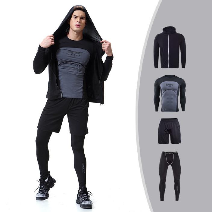 新款秋款男士健身衣长袖健身服拉链外套四件套男运动套装一件代发