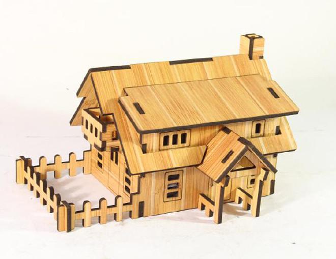 森呼吸西式小屋批发激光切割3D精品智慧拼装模型精致DIY益智玩具示例图1
