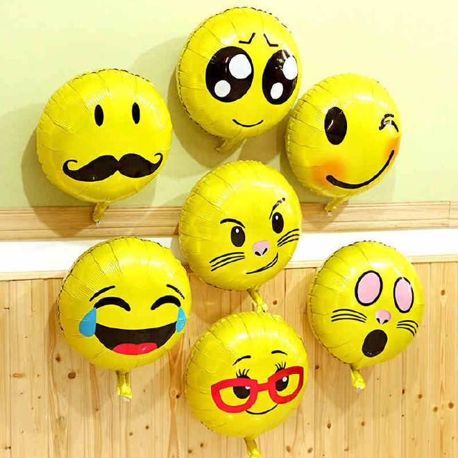 18寸笑脸表情气球 表情包铝膜气球 生日装饰布置emoji 铝箔气球图片图片