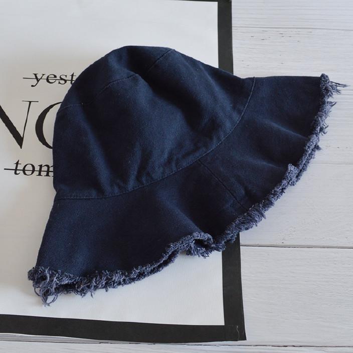 日系毛边渔夫帽女夏季遮阳帽简约休闲帽子磨边盆帽可折叠水洗布帽图片