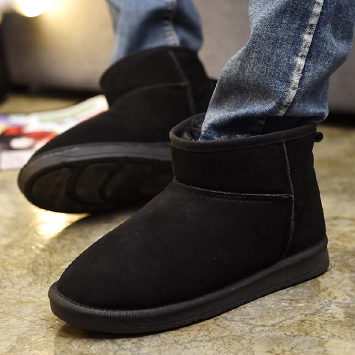 2017秋冬新款防滑雪地靴男保暖加绒青少年中邦男短靴学生靴子棉鞋
