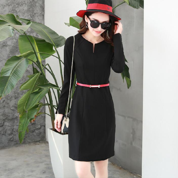 2016新款秋装韩版气质女装连衣裙长袖短款A型纯色修身春秋裙子图片