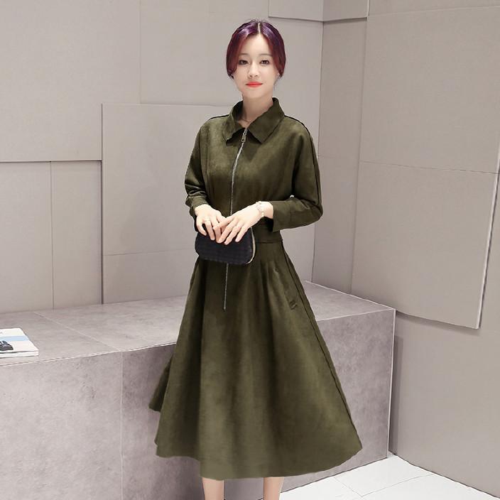 女士秋天连衣裙长袖英伦风新款2016鹿皮绒长裙修身大裙摆春秋裙子图片