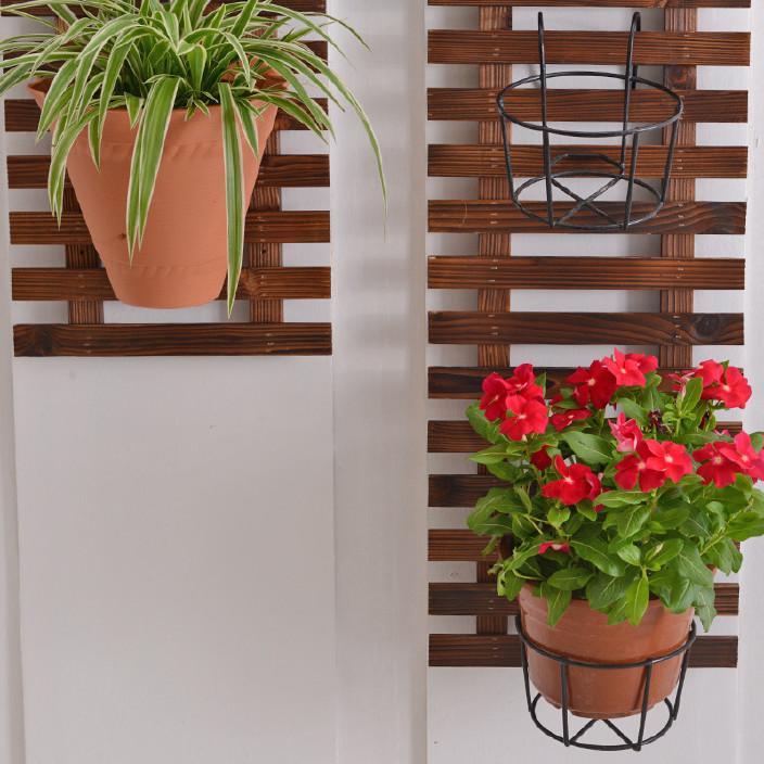 新款防腐木墙上花架壁挂铁艺挂墙植物架实木悬挂墙壁花盆架 特图片