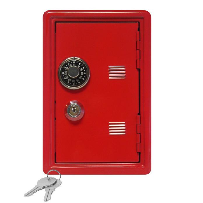 迷你18cm金属保险箱密码钥匙两用保险柜创意家居工艺品摆件可代发