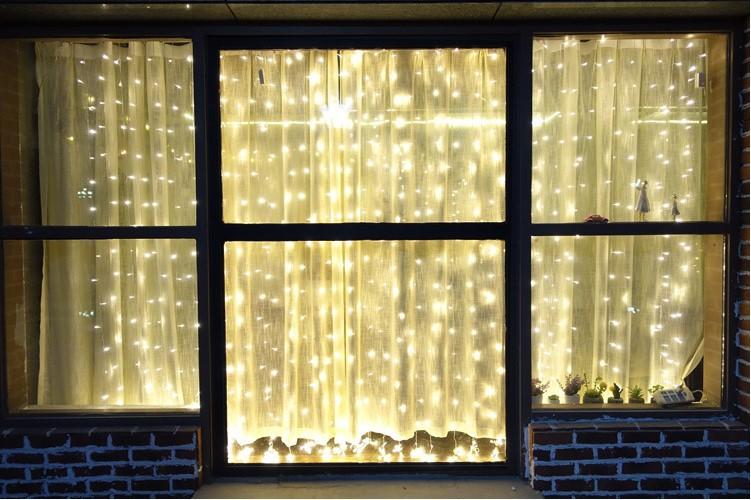 主播房间装饰 圣诞节日网红 LED窗帘灯3*3米304灯 冰条婚庆装饰灯示例图7