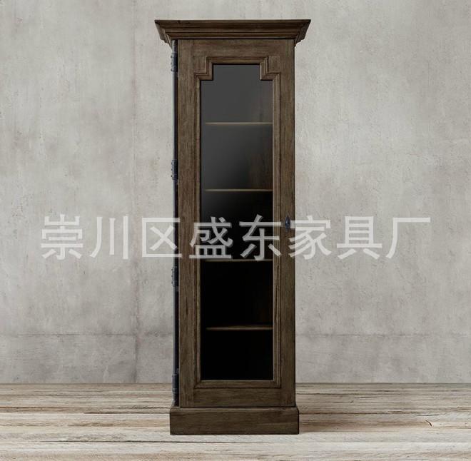 美式实木四门组合书柜 法式乡村实木书柜单门书柜双门书柜定制