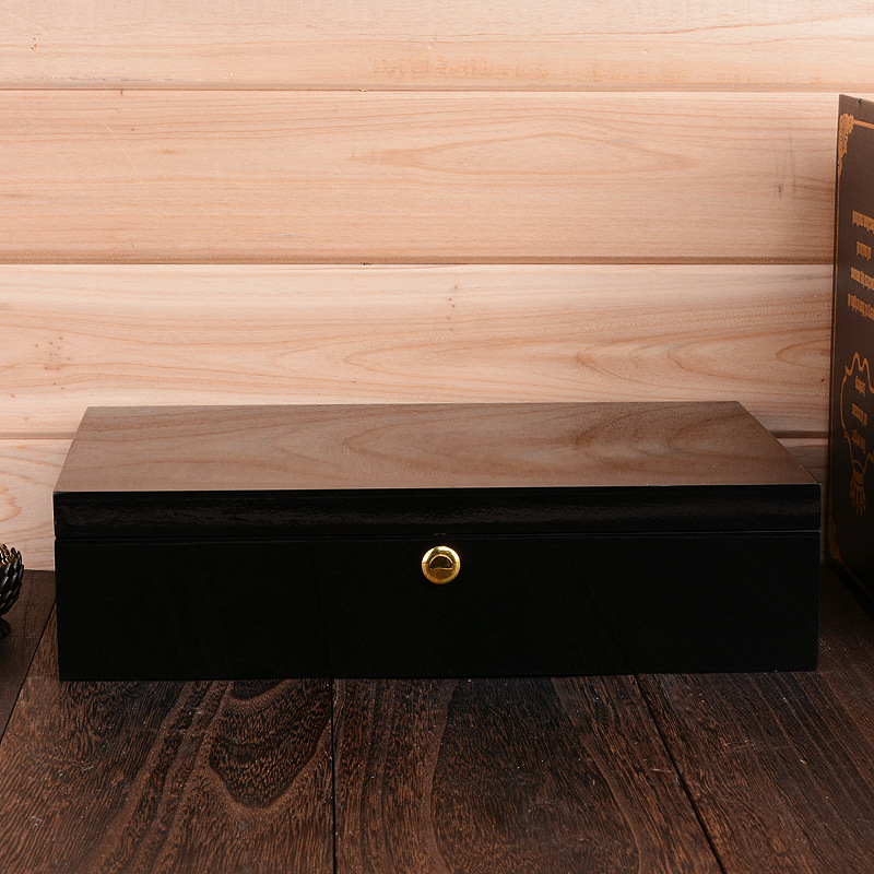 现货供应实木礼品包装喷漆木盒加工抽拉盖烤漆木盒 实木木盒包装
