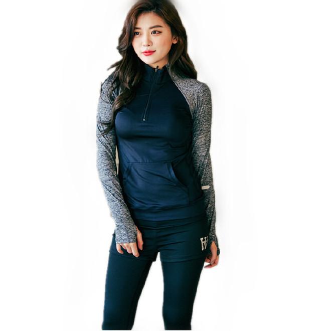 瑜伽服運動套裝女秋冬兩件套戶外跑步舞蹈健身瑜伽服上衣長袖韓版
