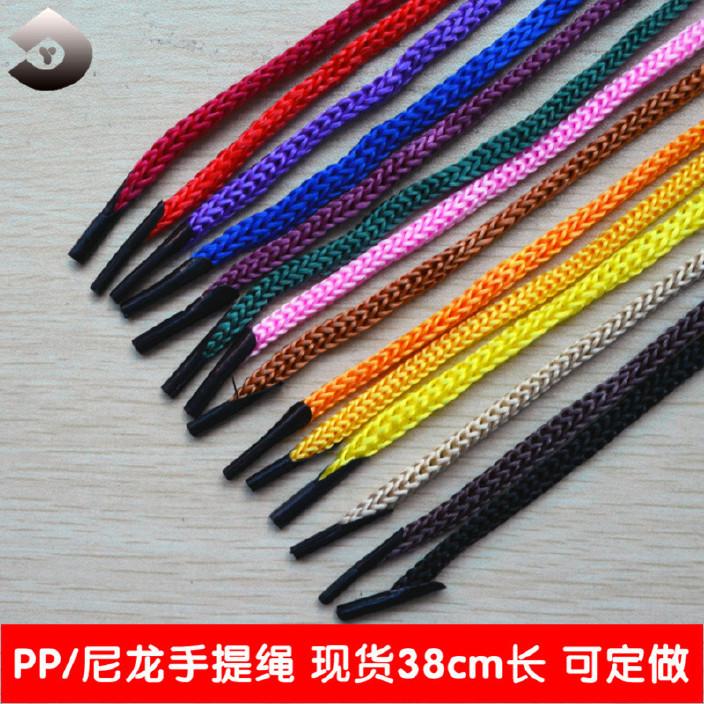 现货供应 pp手提绳 编织礼品袋手挽绳 卡头绳 低弹涤纶手提绳图片