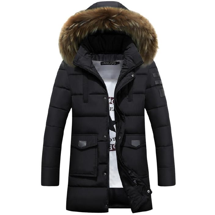 冬季新款青年羽绒棉服中长款韩版修身加厚棉服男大毛领潮图片