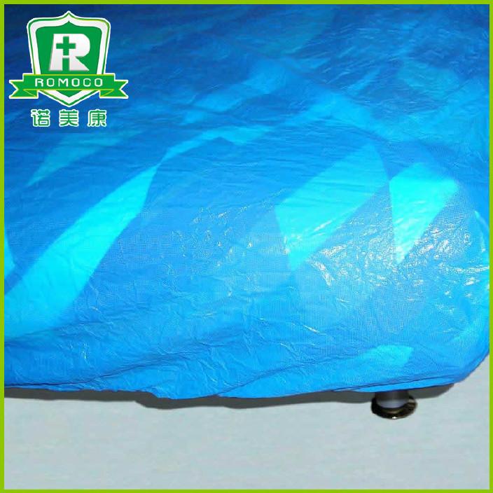 长期供应酒店一次性用品CPE床罩纯蓝色塑料床罩定制批发