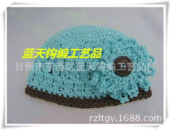 供应加工毛线手工钩帽子,手钩钩织宝宝婴儿帽.钩针钩编毛线帽子