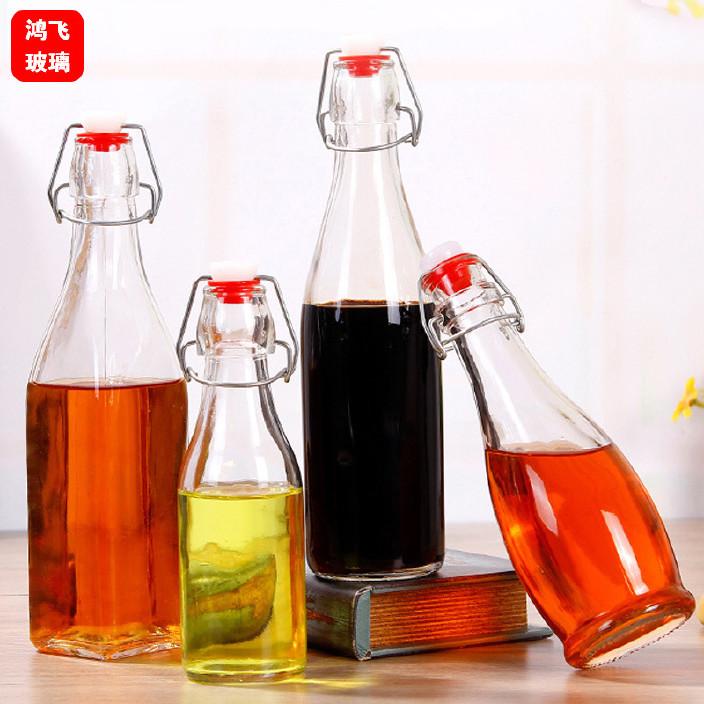 批发乐扣卡扣玻璃瓶密封饮料果汁瓶酵素瓶子密封泡酒瓶玻璃瓶定制