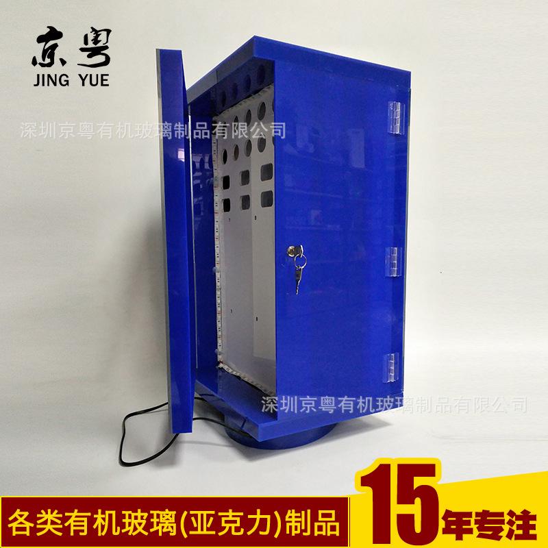 工廠訂做 旋轉發光手機充電器展示架 3C數碼產品小展柜加工定制示例圖3