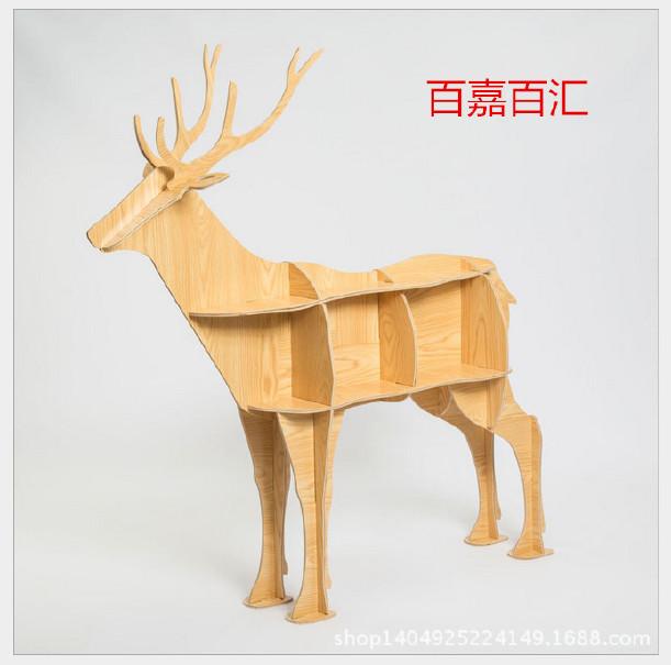 动物鹿边几 创意造型置物架玄关桌 书架木质摆件家装饰品