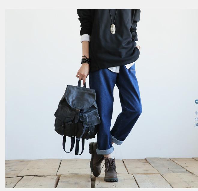 新款江南布衣风格复古怀旧百搭休闲大口袋阔腿裤牛仔裤女1631示例图6