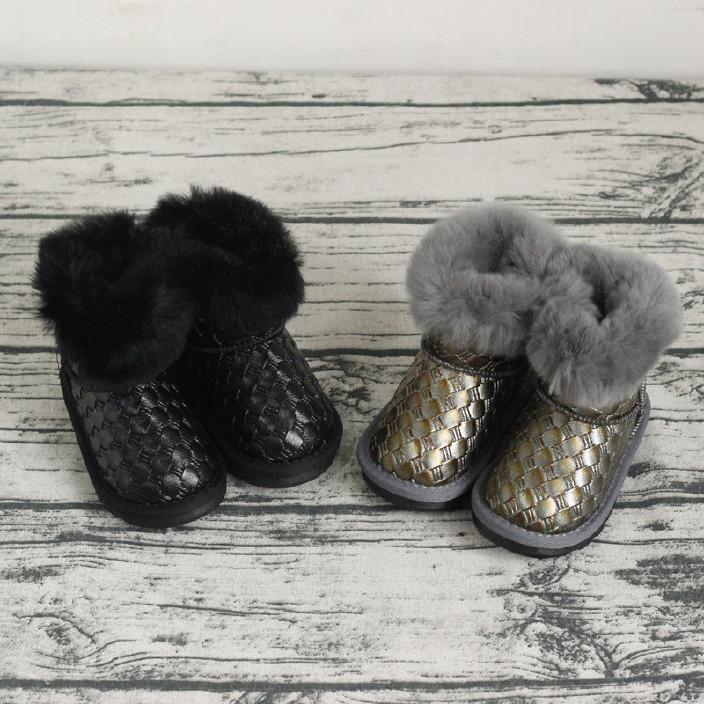 儿童韩版复古编织翻边加厚大棉雪地靴男女童冬款真羊毛保暖棉鞋潮