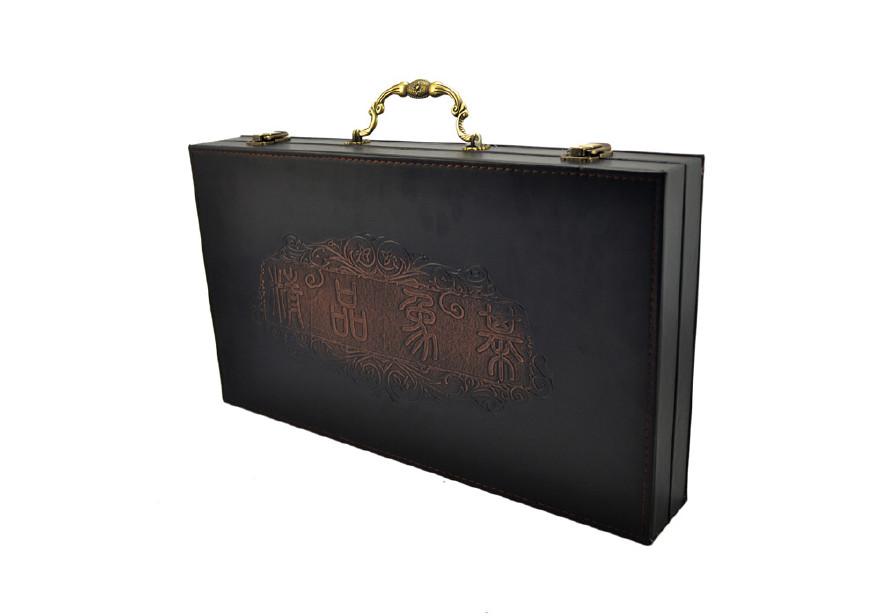 厂家直销高档仿古PU皮质象棋盘 5.5号棋子礼盒配无纺布袋子运输图片