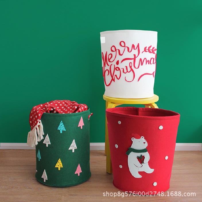 创意卡通不织布收纳桶毛毡玩具杂物收纳筐圣诞节礼物桶 可定制示例图6
