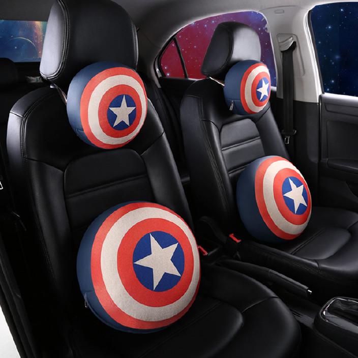 新款亚麻汽车圆形头枕漫威卡通汽车内饰立体盾牌美国队长汽车头枕
