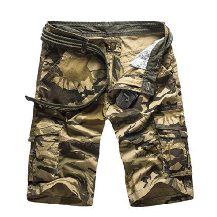 亚马逊速卖通外贸纯棉迷彩工装短裤男夏多口袋宽松五分裤一件代发图片