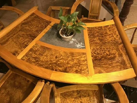 16888黄金樟扇形泡茶桌六件套山香果茶台会议桌茶板金丝楠