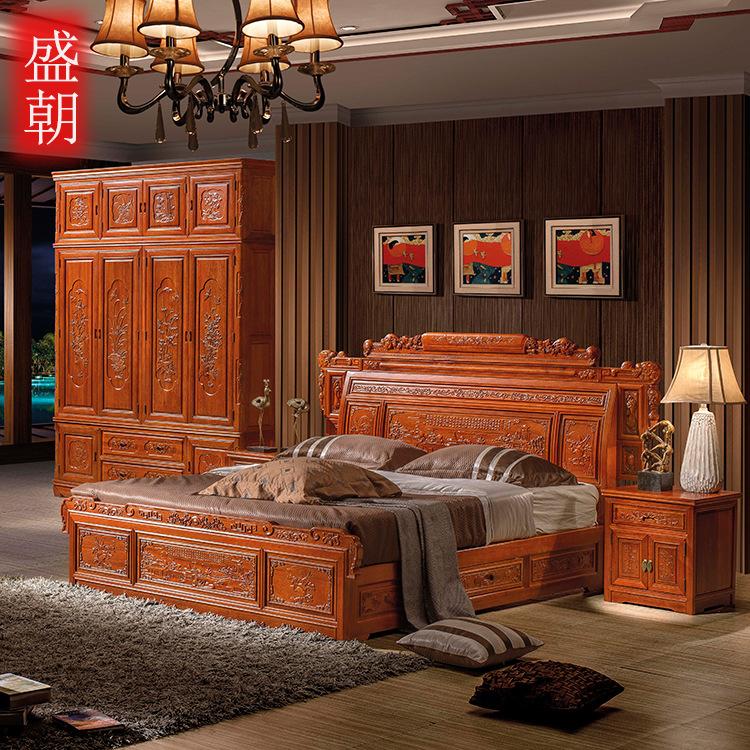 仿古中式海棠木1.8米雙人大床床頭柜組合全實木臥室廠家直銷特價