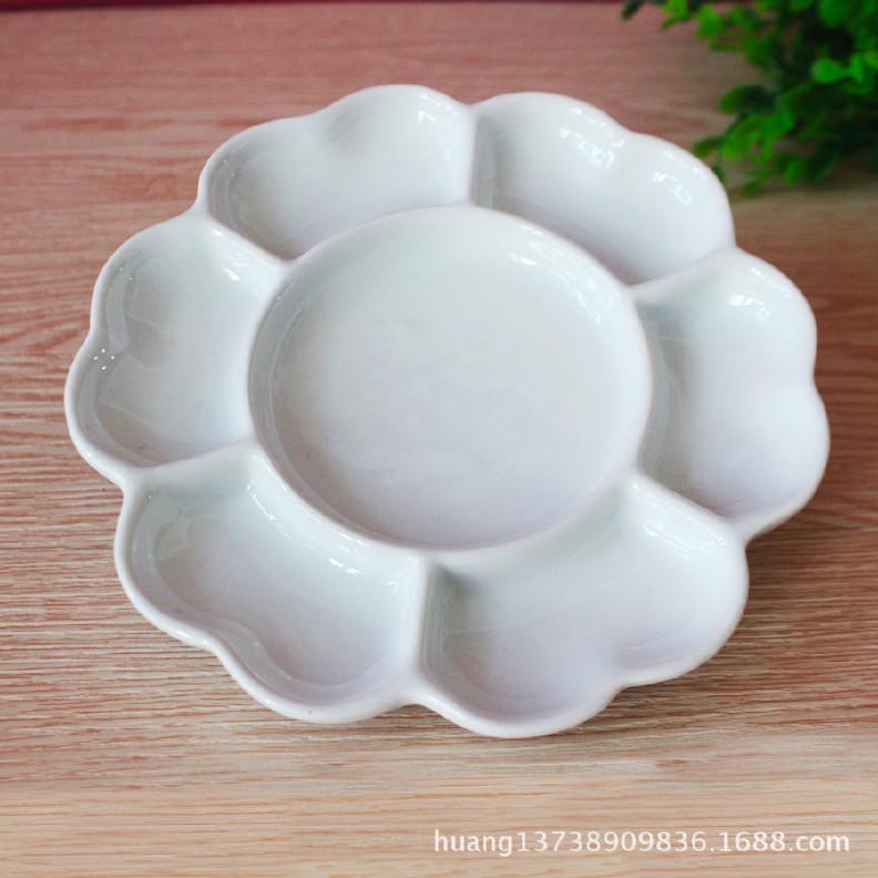 8寸陶瓷调色盘 景德镇陶瓷调色板画盘 厂家直销颜料盒颜料盘图片