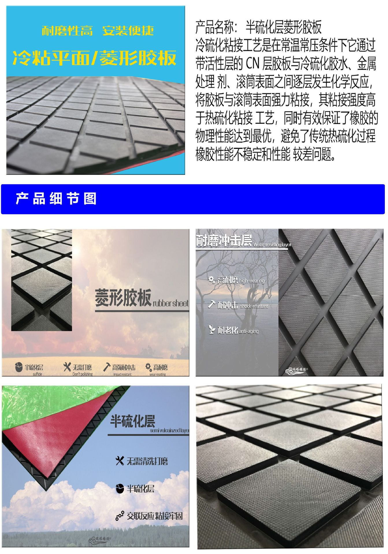 cn层滚筒包胶胶板 耐磨冷硫化cn层滚筒包胶胶板厂家示例图1