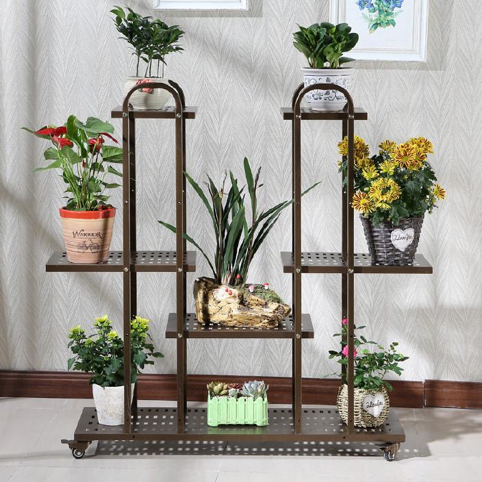 欧式时尚铁艺多层花架 落地式客厅阳台花盆架 吊篮绿萝多肉植物架图片