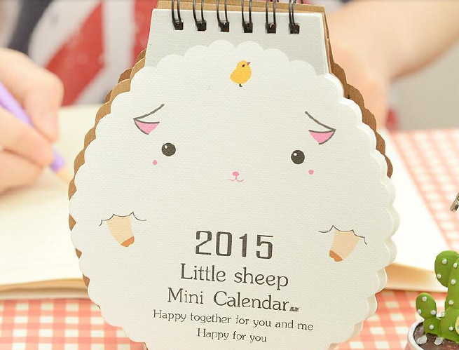 崇福文具2015年台历 创意卡通可爱小羊造型桌面迷你小台历