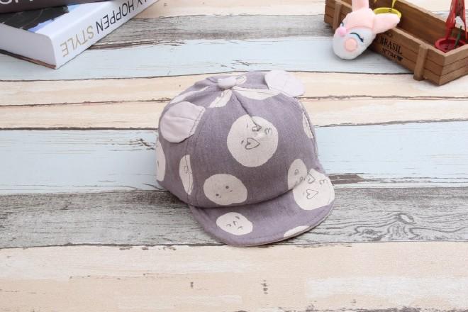 耳朵表情猫儿童宝宝软沿帽可爱表情婴幼儿潮手绘系棉麻包萌图片