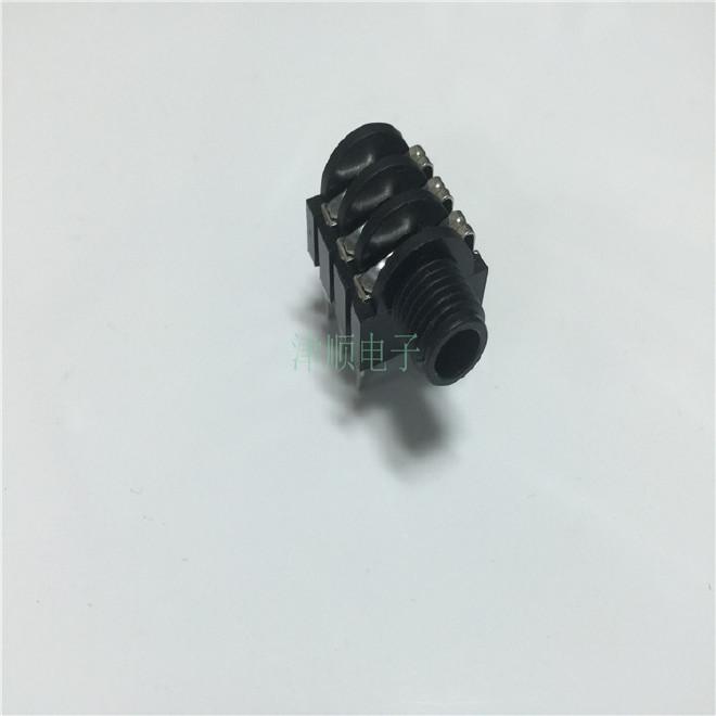 6.35咪座 插座>音频、视频插座  铜脚 塑料双声道插座图片