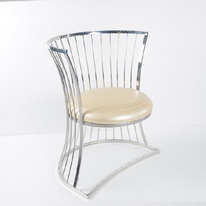 影楼商务洽谈靠背接待椅 欧式酒店不锈钢软包咖啡椅 餐椅