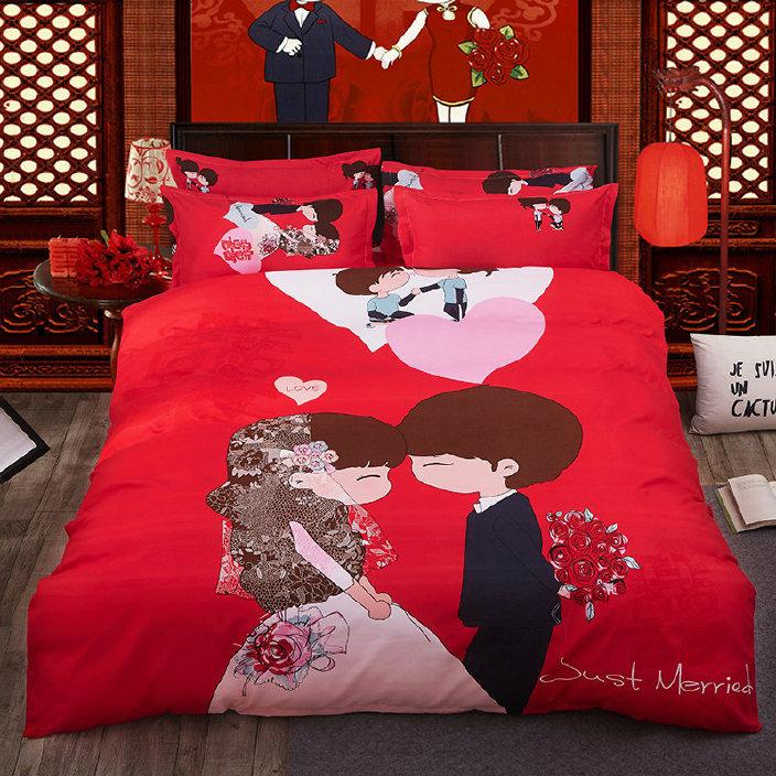 純棉活性印染40支磨毛卡通婚慶四件套大紅色床品套件廠家批發圖片