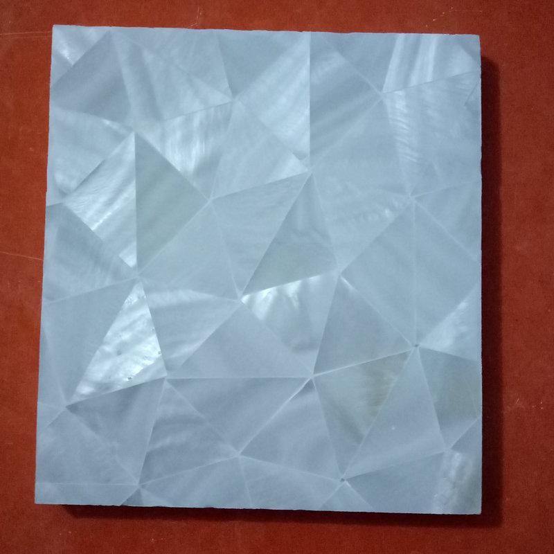 厂家供应 贝壳马赛克纯白三角形装饰板电视背景墙内墙装修马赛克