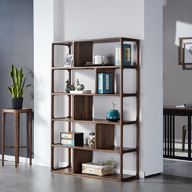 北美黑胡桃木书架书房家具置物架北欧现代简约实木书柜收纳柜陈列