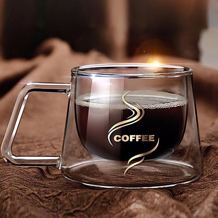 创意带把玻璃杯 耐热防烫双层咖啡杯 奶茶杯马克杯 时尚方克杯茶杯