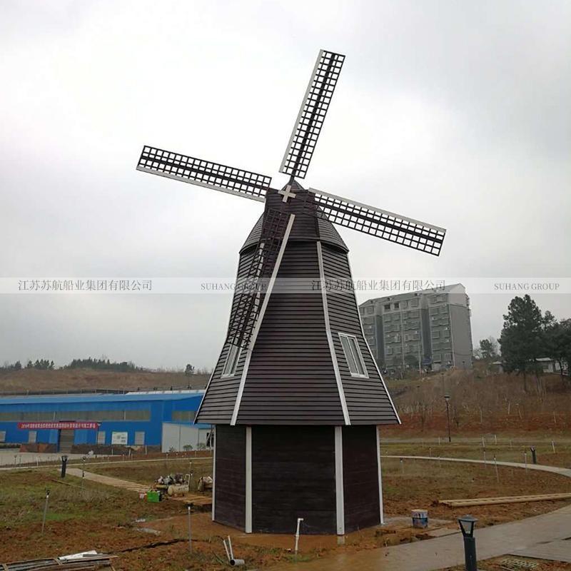 大型防腐木景觀風車 景區電動風車 8米園林風車生產廠家