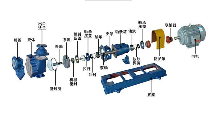 氟塑料自吸泵结构图