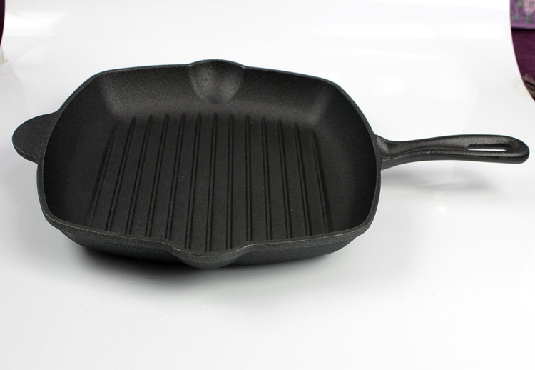 加大铸铁牛排煎锅条纹锅加厚家用电磁炉不粘锅平底锅鑄鐵鍋定做示例图29